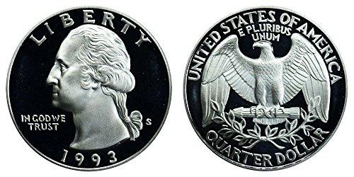 1993 S US Mint Deep Cameo Washington Silver Proof Quarter DCAM ()