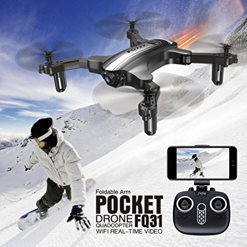 Dirance FQ777 FQ31W RC Quadcopter Drone, WiFi 2.0MP Optical Camera Mini Foldable Helicopter, Headless Mode & Altitude Hold & One ey return (Black) by Dirance