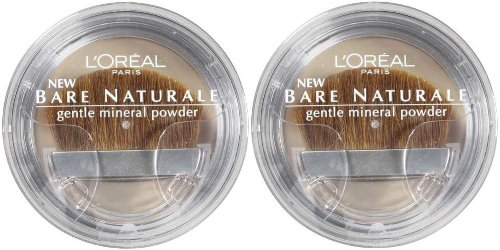 L'Oreal LOREAL Bare Naturale Gentle Mineral Powder Compact with Brush 422 CLASSIC TAN (PACK Of 2) (Bare Loreal Compact Naturale)