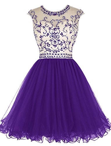 Ballkleid Kleides Beaded Ball Homecoming Kurz Sleeve Lang Cap Purple Schwarz Abendkleider Women' Fanciest qYwvHH