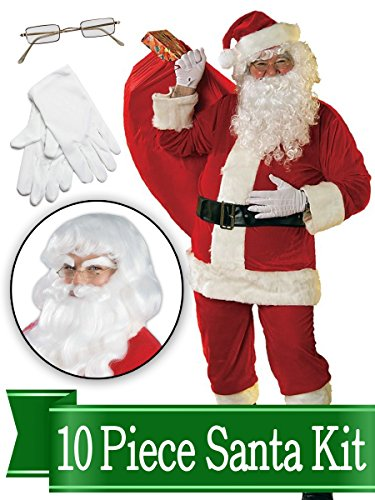 Santa Suit - Rental Quality Red Ultra Velvet Deluxe - Santa Costume Outfit - Complete 10 Piece Kit ()