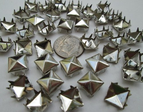 "UPC 780558947094, Nailheads Spots Pyramid Studs 706 8-prong 5/16"" (9mm) square; Brass with Bright Nickel Finish; 100 Pcs #706"