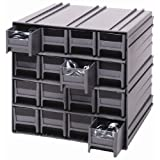 Quantum QIC-161GY Interlocking Gray Storage Cabinet with 16 Gray Drawers, 11.38-Inch by 11-3/4-Inch by 11-Inch