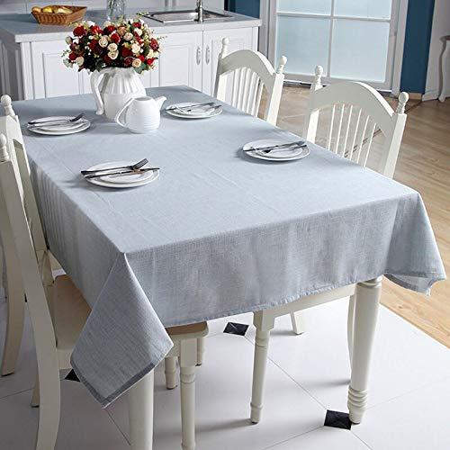 Yingteng Tissu de Nappe Style Japon simplicité Teints Couleur Unie Coton Lin rectangulaire Nappe Lavable Tissu de Table Anti-poussière Lavable 140 x 180 cm Bleu Clair