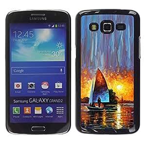 YOYOYO Smartphone Protección Defender Duro Negro Funda Imagen Diseño Carcasa Tapa Case Skin Cover Para Samsung Galaxy Grand 2 SM-G7102 SM-G7105 - vela puesta de sol barco arte de la acuarela sol
