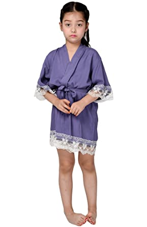 Mr Mrs Right Flower Girl Kimono Cotton Robe Junior Bridesmaid Robe For Wedding Party With Lace Trim