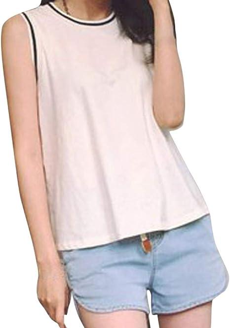 Geilisungren Camiseta sin Mangas Mujer Camiseta Palabra de Honor de Mujer con Mujeres sin Mangas Tank Top Pure Color Ocio Flojo Verano Chaleco Blusa(Blanco,L): Amazon.es: Deportes y aire libre