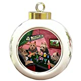 Home of Australian Terriers 4 Dogs Playing Poker Round Ball Christmas Ornament