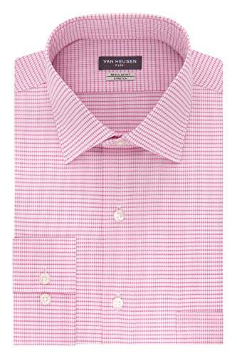 - Van Heusen Men's Dress Shirt Regular Fit Flex Collar Stretch Check, Pink Glaze, 17.5