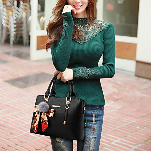 Borse Donna Borse Shoulder Borse Fashion Da YongBe A Ladies Tracolla Hobos Scarf Tracolla PU Ornamento Black Messenger A Bags qHYEwPt