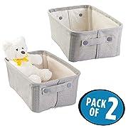 mDesign Baby Nursery Cotton Fabric Storage Bin for Stuffed Animals, Toys, Books - Pack of 2, Medium, Light Gray …
