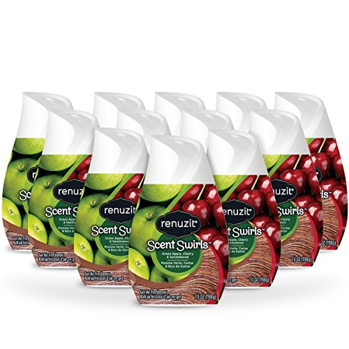 Renuzit Scent Swirls Air Freshener Gel, Green Apple, Cherry & Sandalwood, 7 Ounces (12 Count)