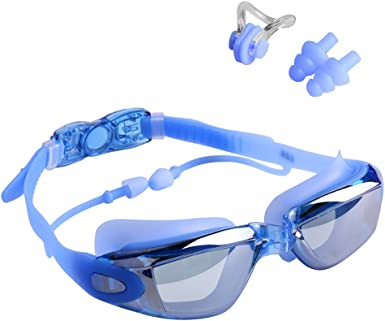 Details about  /Swimming Goggles No Leaking Anti Fog UV Protection Aqua Nose Clip Ear Plugs SWIM