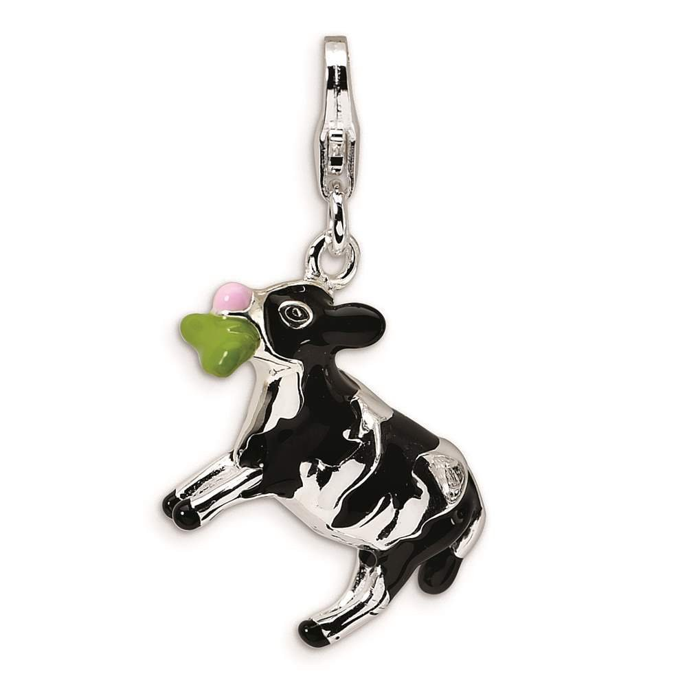 Amore La Vita Collection 925 Sterling Silver 3-D Enameled Eating Cow w// Lobster Clasp Charm