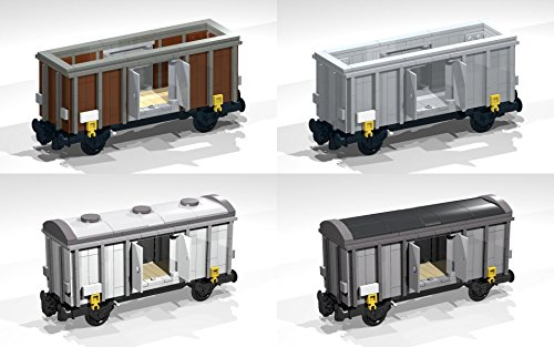 Collection of six 4-Wheel Box and Open Wagons: Lego MOC building  instructions (Lego Train MOC Plans Book 5)
