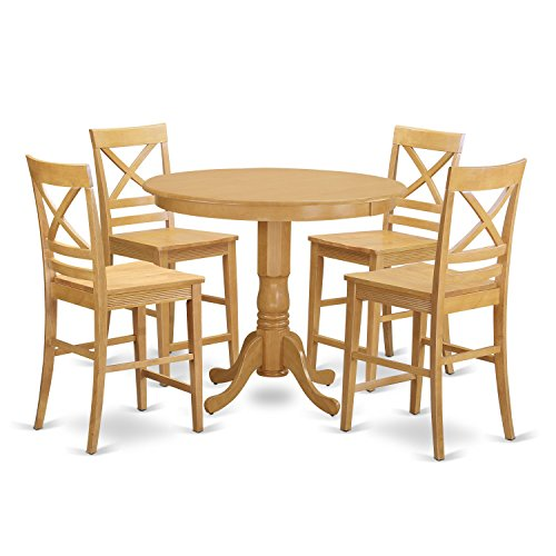 Small Kitchen Table With Bar Stools: East West Furniture TRQU5-OAK-W 5 Piece Small Kitchen