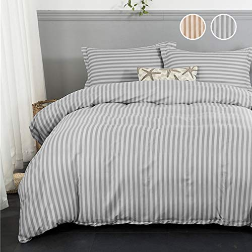 (Luxury Gray Striped Duvet Cover Queen 3 Pieces Reversible Grey Vertical Striped Bedding Duvet Cover with Zipper Ties for Home and Hotel Collection, Ultra Soft Microfiber)