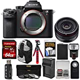 Sony Alpha A7R II 4K Wi-Fi Digital Camera Body 35mm f/2.8 Lens + 64GB Card + Battery & Charger + Backpack + Flex Tripod + Flash + Kit