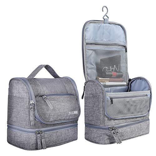 3cd47d269f8d HOKEMP Toiletry Bag Travel Waterproof Cosmetic Bag Multifuncation Organizer  Bag Portable Makeup Pouch - Gray