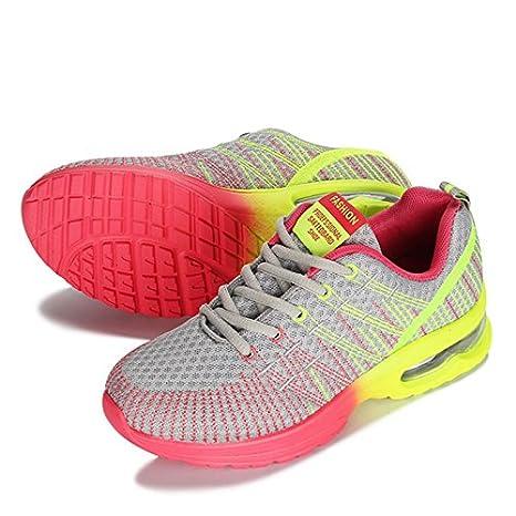 Zapatillas para mujeres cojín de aire zapatos mujer zapatillas mujer marca de zapatillas de deporte de cuña exterior absorción Zapatillas,gris,5.5: ...