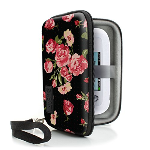 WiFi Hotspot Portable Mobile Carrying Case by USA Gear with Detachable Security Wrist Strap - Great for 4G Wi-Fi Mobile Hotspots from AT&T , Verizon , Sprint , Virgin Mobile , T-Mobile - Floral