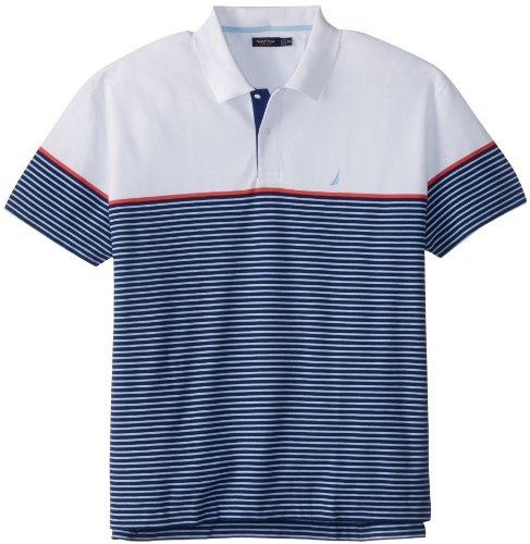 Nautica Men's Big-Tall Short Sleeve Mini Stripe Polo