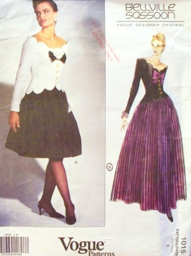 oop-vogue-designer-original-pattern-1015-misses-sz-8-fitted-boned-top-flared-skirt-in-2-lengths-bell