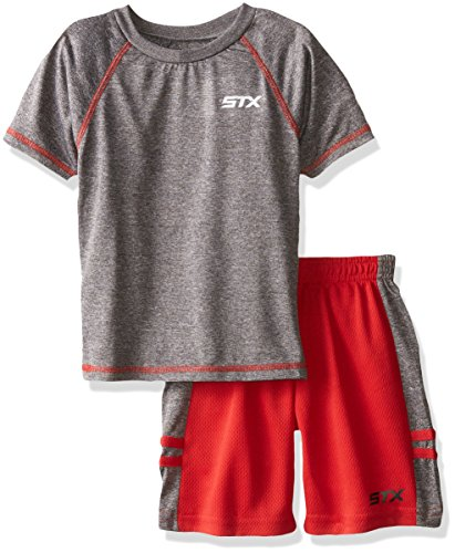 STX Little Boys' Toddler 2 Piece Performance Athletic T-Shirt and Short Set, Gray/Engine Red, 4T