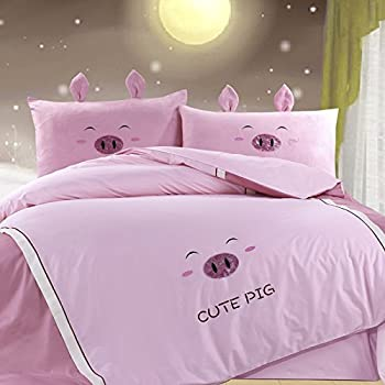 YOYOMALL 100% Cotton Cute Pig Pink Bedding Set,Delicate Embroidered Patch  Craft Cover Set