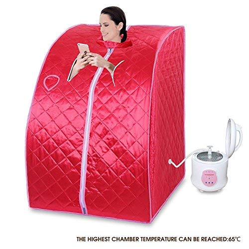 Cheap KUPPET Portable Folding Steam Sauna 2L One Person Home Sauna Spa for Full Body Slimming Loss Weight w/Chair, Remote Control, Steam Pot, Foot Rest, Mat (Red)