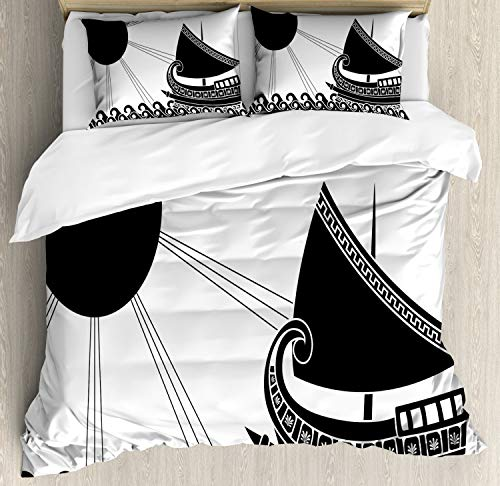 Lunarable Mythology Duvet Cover Set, Illustration with Ship on Ocean and Sun in Classic Greek Style, Decorative 3 Piece Bedding Set with 2 Pillow Shams, King Size, Charcoal Grey White ()