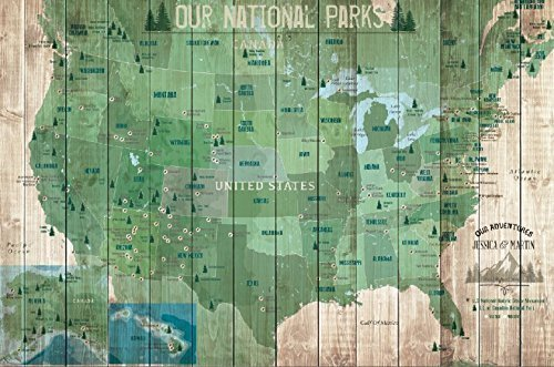 National Parks Map, USA National Parks, Heritage Sites in USA, Personalized, POSTER, 24X36 Inches