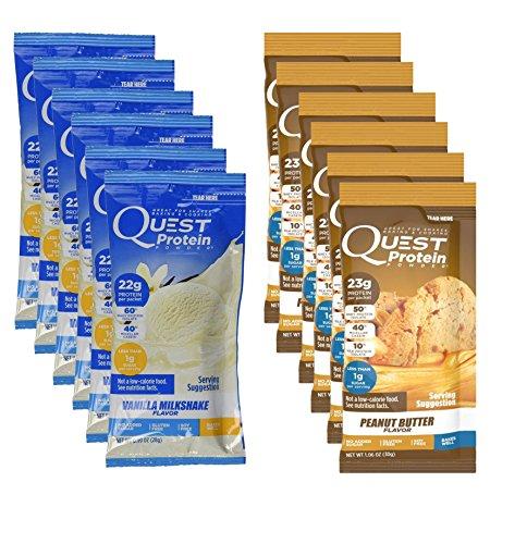 Quest Nutrition Quest Protein bjXAVG Powder, Peanut Butter/Vanilla Milkshake 24 Count (12 of Each) by Quest Nutrition
