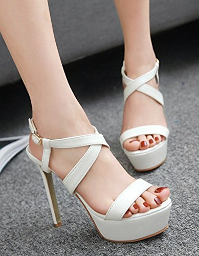 Sandali A Stiletto Donna Aisun - Platform A Tacco Alto A Punta Aperta Brunito - Sexy Sera Festa In Fibbia Bianca