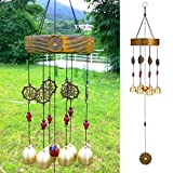 Wood Wind Chimes Outdoor, 6 Bells Chinese Lucky Feng Shui Wind Bells Outdoor Garden Decor, 27.5'H