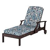 Outdoor Patio Chaise Cushion- Box Edge 72''x21''x3-1/2'' (Aegean Blue Paisley Print)