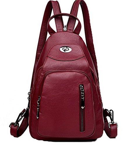 Sacs Sacs tout à Vineux AllhqFashion Pu bandoulière Femme Mode Zippers Cuir fourre Rouge FBUFBD180994 BqnfEw8