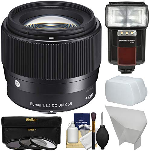 Sigma 56mm f/1.4 Contemporary DC DN Lens with 3 UV/CPL/ND8 Filters + Flash & Video Light + Diffusers Kit for Sony Alpha E-Mount Cameras