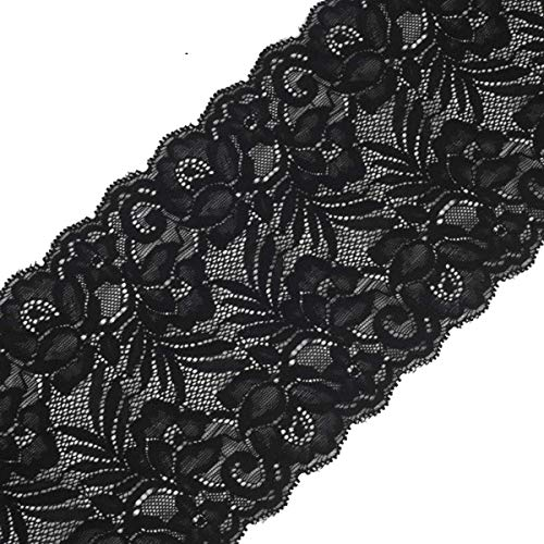 (Yalulu 5 Yards x 15CM Width Embroidered Stretch Floral Lace Edge Trim Ribbon Applique DIY Garment Sewing Craft Wedding Decoration (Black) )