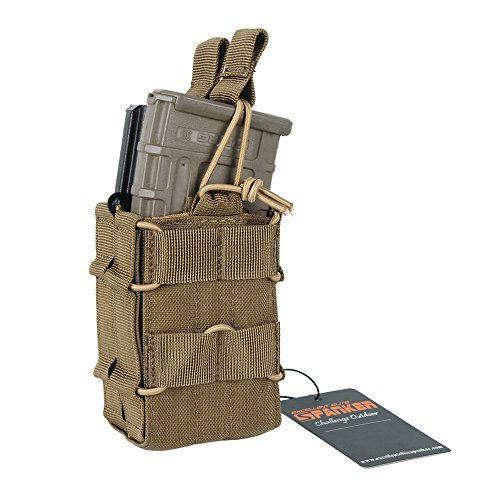 EXCELLENT ELITE SPANKER Tactical Nylon M4 Double Mag Pouch Stacking Machine MOLLE Mag Pouch(Brown)