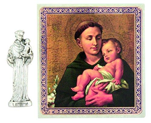 Patron Saint St Anthony of Padua 1 1/2 Inch Pocket Statue with Prayer Card