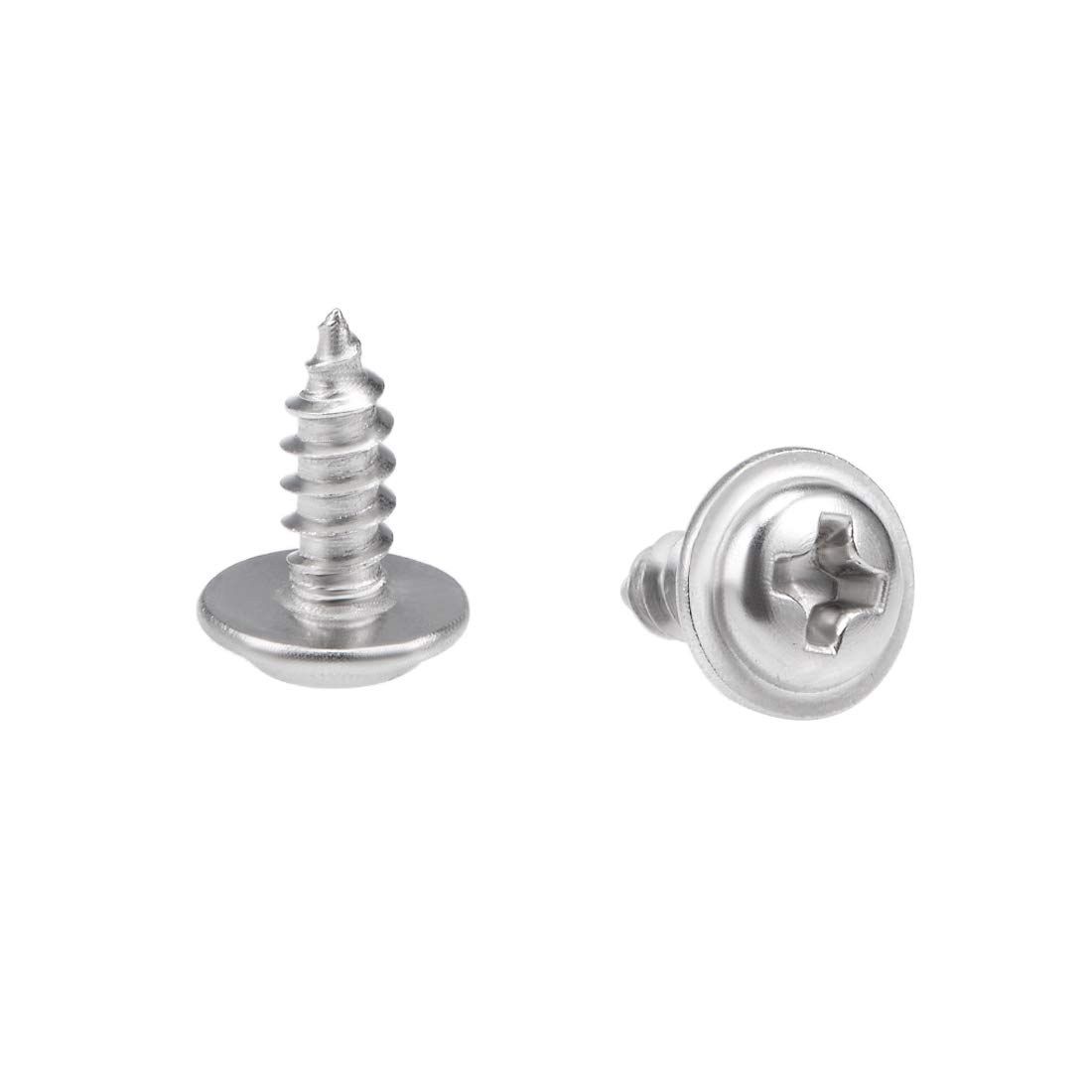 uxcell 2.6x8mm Self Tapping Screws Phillips Pan Head with Washer Screw 304 Stainless Steel Fasteners Bolts 50Pcs