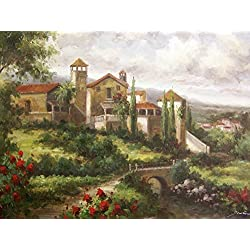 Tuscany Oil Painting On Canvas Modern Wall Art Pictures For Home Decoration Wooden Framed (20X16 Inch, Framed)