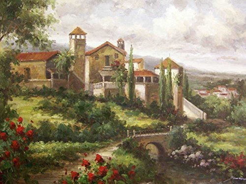 Tuscany Oil Painting On Canvas Modern Wall Art Pictures For Home Decoration Wooden Framed (20X16 Inch, Framed) - Tuscany Oil Painting