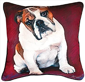Manual Bulldog Baby Paws and Whiskers Decorative Square Pillow, 18-Inch
