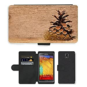 PU LEATHER case coque housse smartphone Flip bag Cover protection // M00153013 Fondo del cono del pino de madera // Samsung Galaxy Note 3 III N9000 N9002 N9005