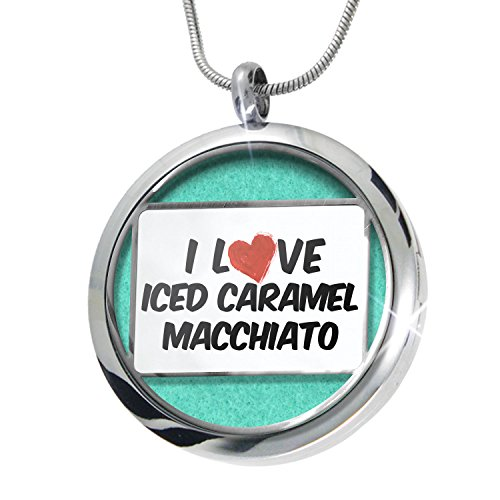NEONBLOND I Love Iced Caramel Macchiato Coffee Aromatherapy Essential Oil Diffuser Necklace Locket Pendant Jewelry Set (Caramel Aroma compare prices)
