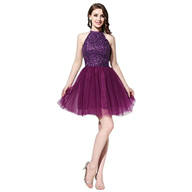 d170445f10c Image Unavailable. Image not available for. Color: Wishopping Women's Short  Halter Prom Gown Homecoming Dress ...