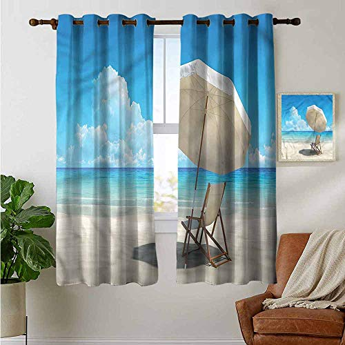 - Pattern Curtains Coastal,Lonely Chair Scenic Sky Sea,Living Room and Bedroom Multicolor Printed Curtain Sets 52
