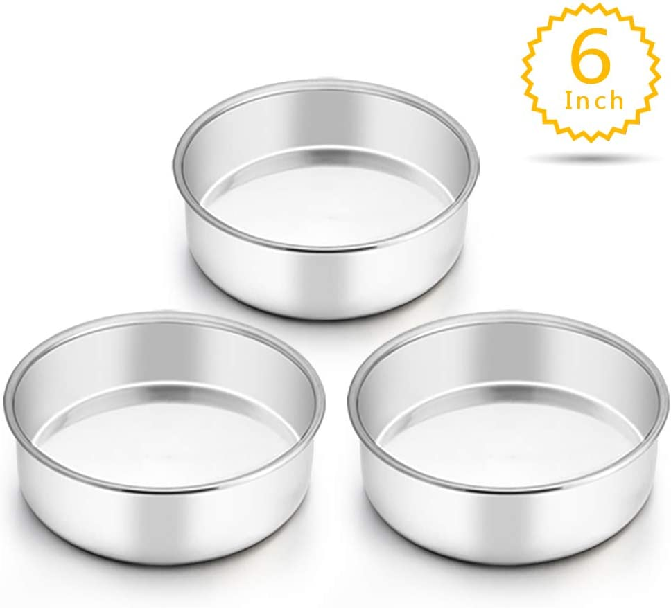 TeamFar 6 Inch Cake Pan, Round Cake Pan Tier Baking Pans Set Stainless Steel, Fit in Instant Pot Air Fryer, Healthy & Toxic Free, Mirror Finish & Heavy Duty, Oven & Dishwasher Safe - Set of 3